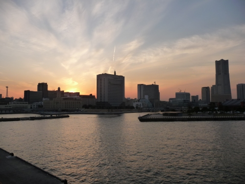 Yokohama's spectacular harbour sunset